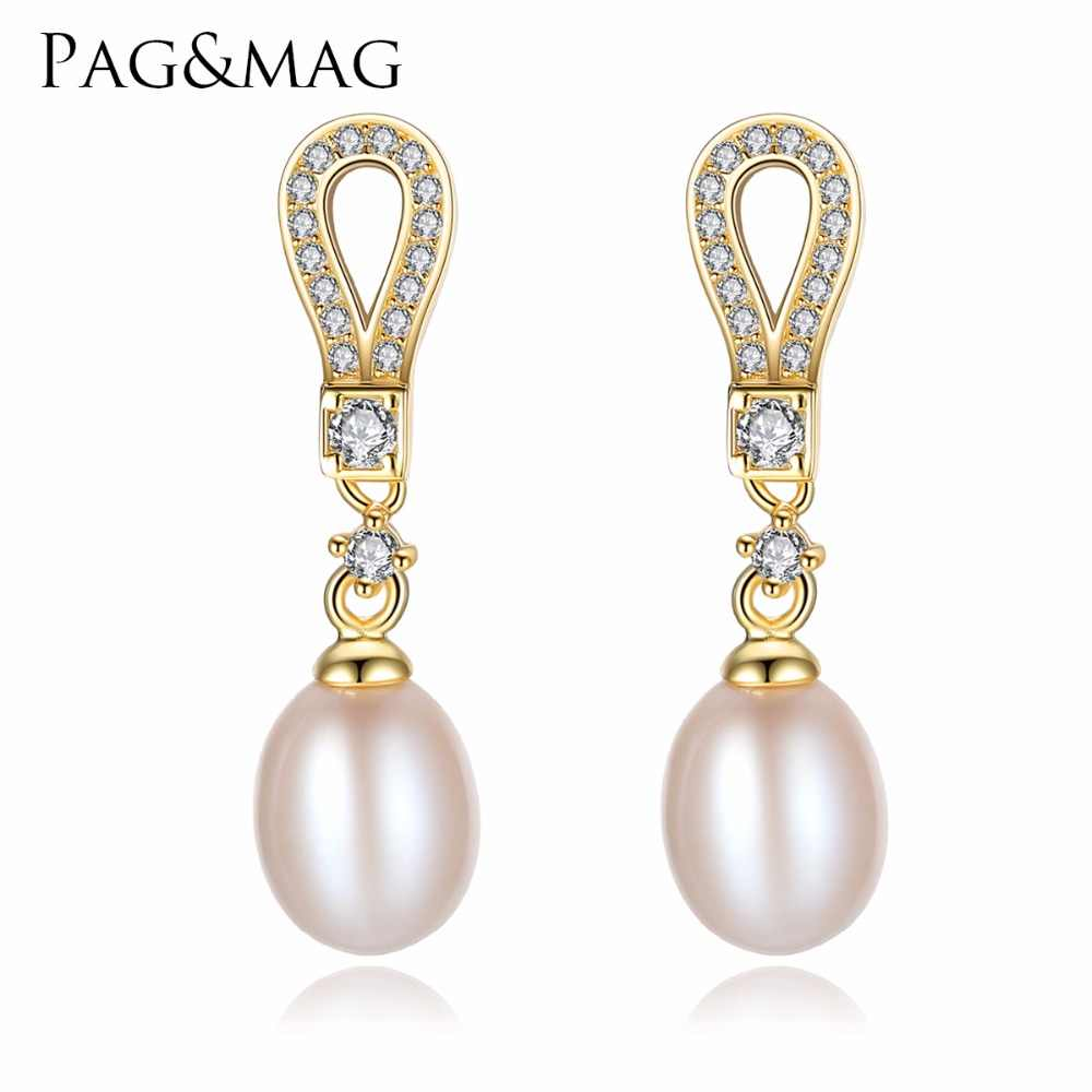 PAG&MAG Brand Genuine Luxury 925 Sterling Silver Natural Pearl Dangle& Drops Pearls Earrings Perfect Fine Jewelry for Women Gift