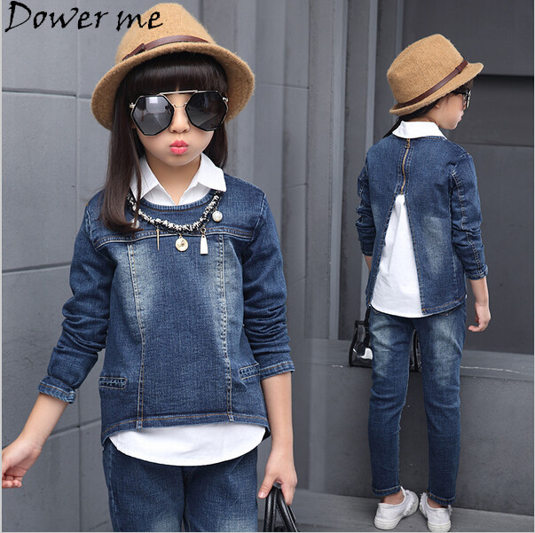 Spring 2017 Girls Denim Clothing Sets Autumn Children 3 Pieces Pullover Long Sleeve Coat+Long jeans Pant+White Blouse 4 8 10 12 autumn winter girls children sets clothing long sleeve o neck pullover cartoon dog sweater short pant suit sets for cute girls