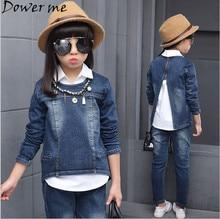 Spring 2017 Girls Denim Clothing Sets Autumn Children 3 Pieces Pullover Long Sleeve Coat+Long jeans Pant+White Blouse 4 8 10 12