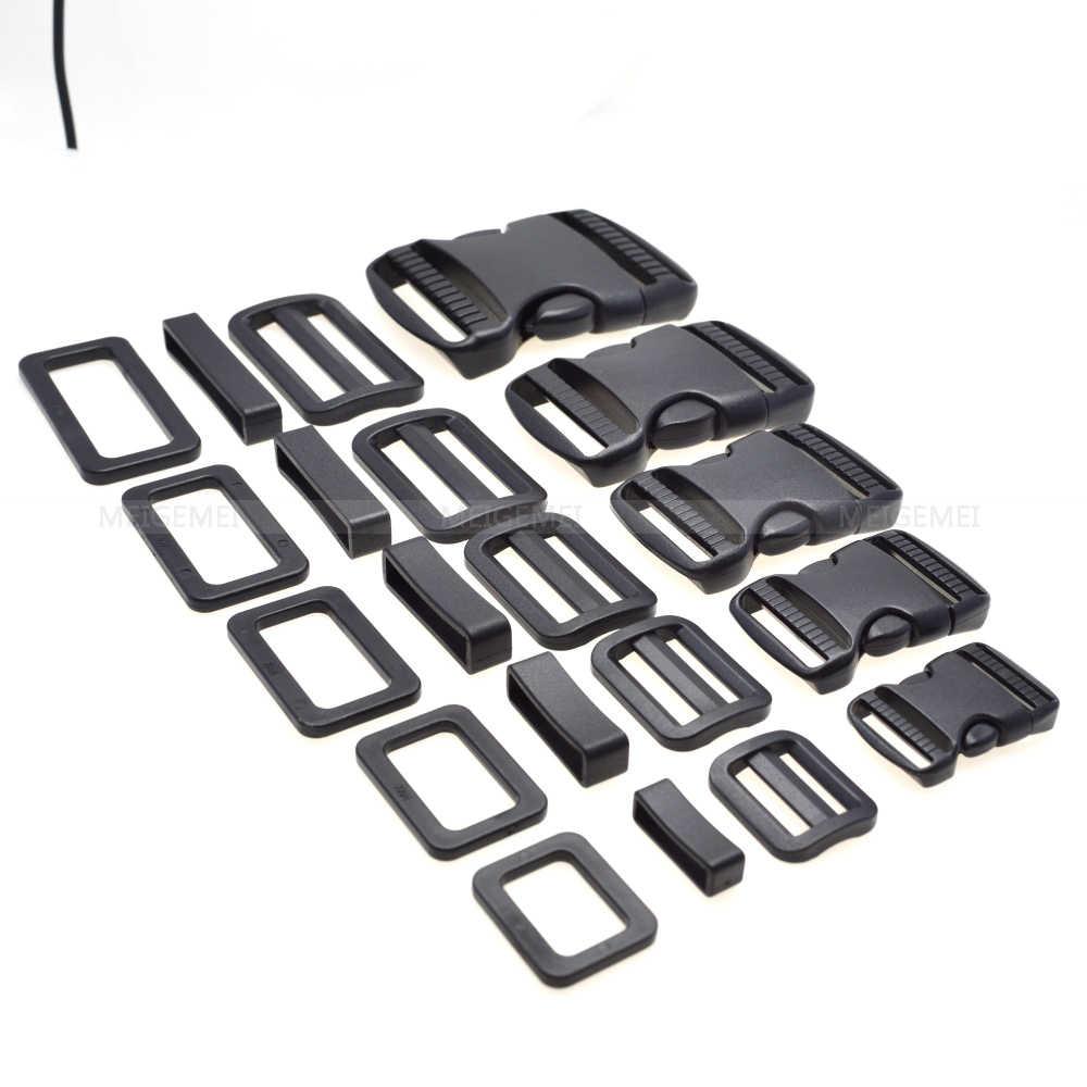 1 เซ็ต 20 มิลลิเมตร 25 มิลลิเมตร 32 มิลลิเมตร 38 มิลลิเมตร 50 มิลลิเมตรพลาสติก Slider ปรับสี่เหลี่ยมผืนผ้าแหวนห่วงเข็มขัดโค้ง side Release Buckles สำหรับ Paracord