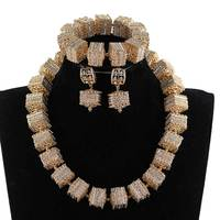 Nigerian Wedding African Jewelry Sets Fashion Dubai Gold Jewelry Sets For Women Copper Statement Necklace Set Free ANJ609