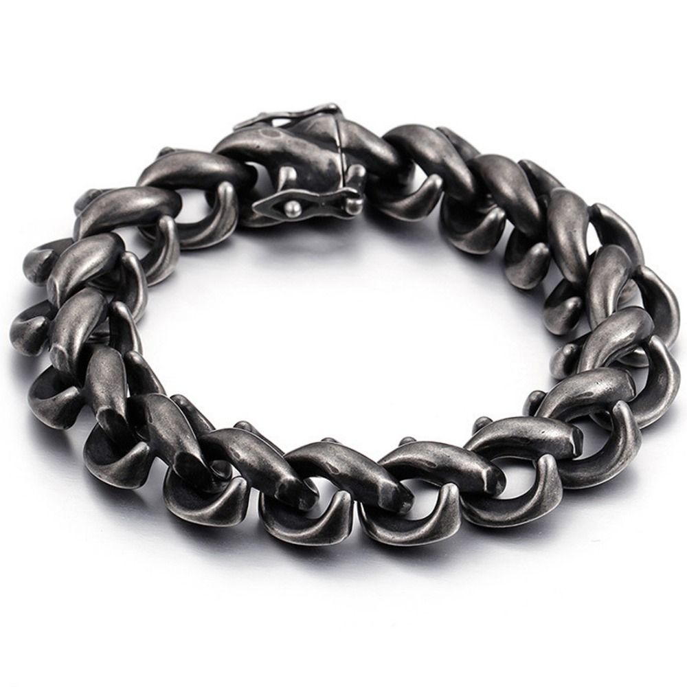 15MM Hip-hop Stainless Steel Black Brushed Gothic Link Chain Biker Jewelry Men's Unisex's Bracelet Bangle 8.66″ New Year Gift