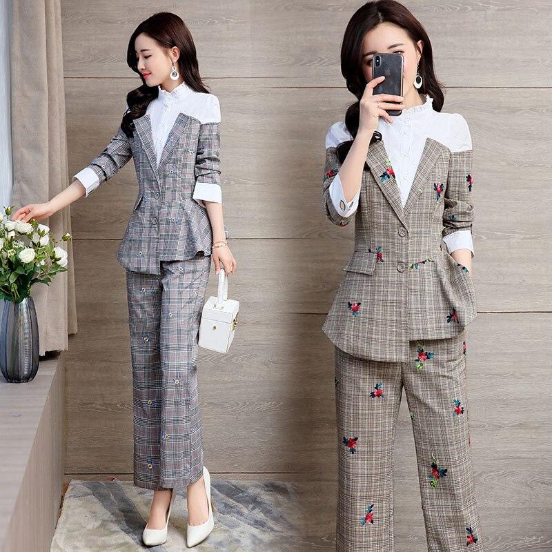Femmes De 2 Costume Ensemble 1 La Réseau 2019 Pièces Ensembles Mince Tenue Taille Nouveau Coréenne Version Deux Tempérament Plus Tweed w16CUq