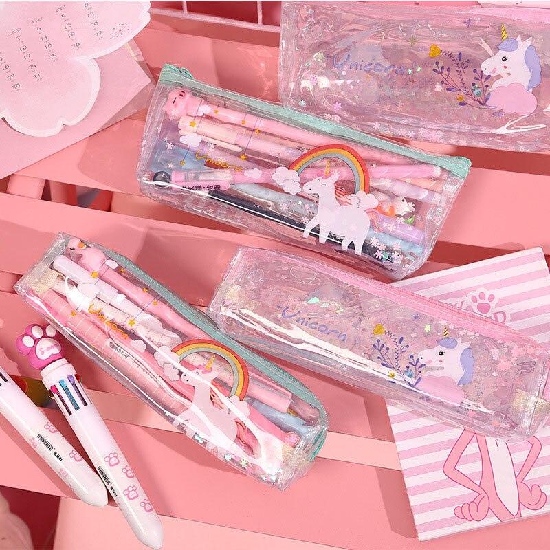 Cute Unicorn Pencil Case High Capacity Pencil Bag Kawaii Transparent Pen Case For Kids Girls Gift School Office Supplies
