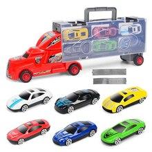 車ダイキャストメタル合金モデルおもちゃでボーイズモデル構築キット ポータブル大型コンテナトラックキッズ合金トレーラー 6