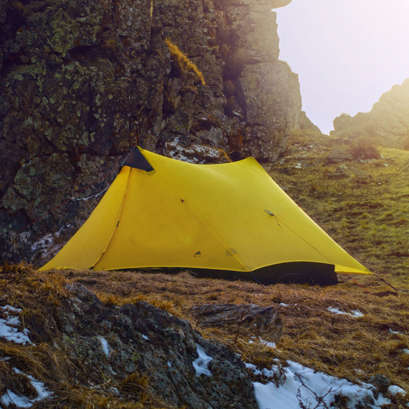 3F UL Gear Rodless Tent 15D Silicone Ultralight Single People Two Person Camping Tents 3 Season 2Colors 995g camping inner tent ultralight 3 4 person outdoor 20d nylon sides silicon coating rodless pyramid large tent campin 3 season