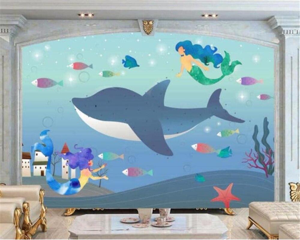 US $8 85 OFF Beibehang Papel De Parede Wallpaper Kustom Besar Mural 3D Kartun Anak Anak Kamar Anak Laki Laki Anak Perempuan Sky Whale Wallpaper