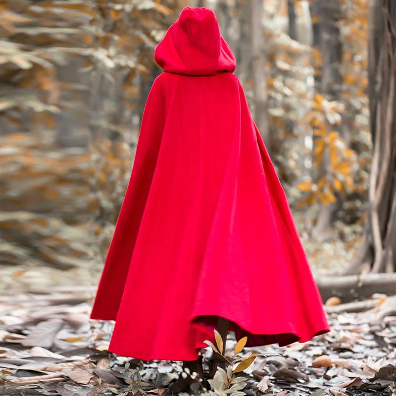 2016 الشتاء الصوفية معطف المرأة خمر الرجعية عباءة X طويلة مقنعين معطف طويل سترة-في صوف مختلط من ملابس نسائية على  مجموعة 1