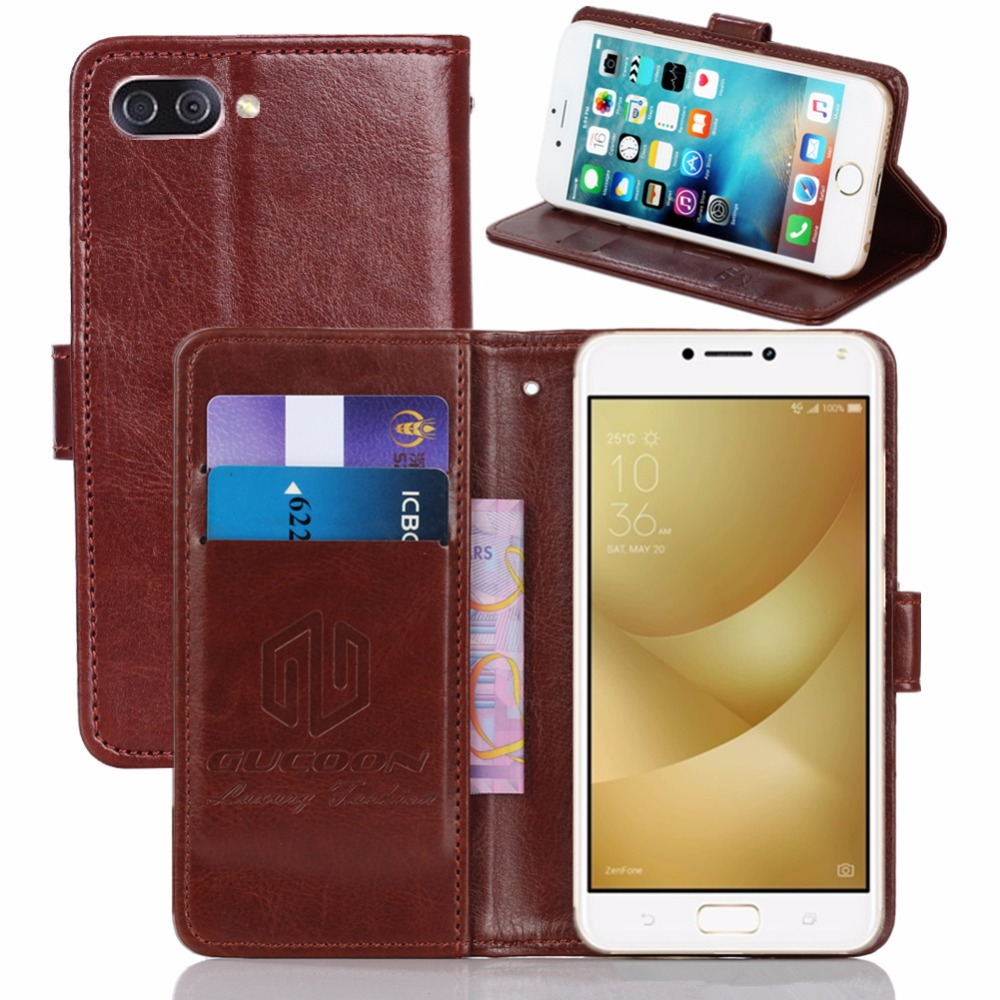 GUCOON Vintage Wallet Case For ASUS ZenFone 4 Max ZC554KL PU Leather Retro Flip Cover Magnetic