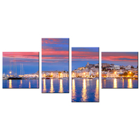 Seascape Painting Spain Ibiza Night Yacht With Houses Lights Poster Canvas Modern City Skyline Pictures Giclee