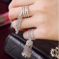 Monaco vrouwen fashion Crystal zirkoon Gesneden hollow tassel Ringen verstelbare kroon ring bruiloft sieraden voor meisje