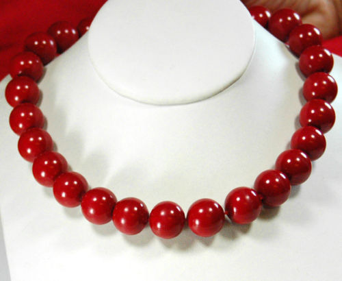 13-14mm Red Coral Large Beads Knotted  Filled Necklace 1813-14mm Red Coral Large Beads Knotted  Filled Necklace 18