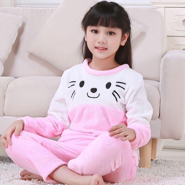 4f220acd6d New Girls Pajamas Warm Thicken Autumn Winter Flannel Pijamas Mujer Children  coral fleece cartoon Pajamas for Kids pijamas