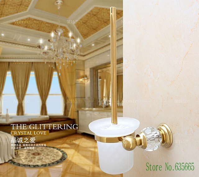 High Quality Crystal Decoration Gold Brass Toilet Brush Holders ...