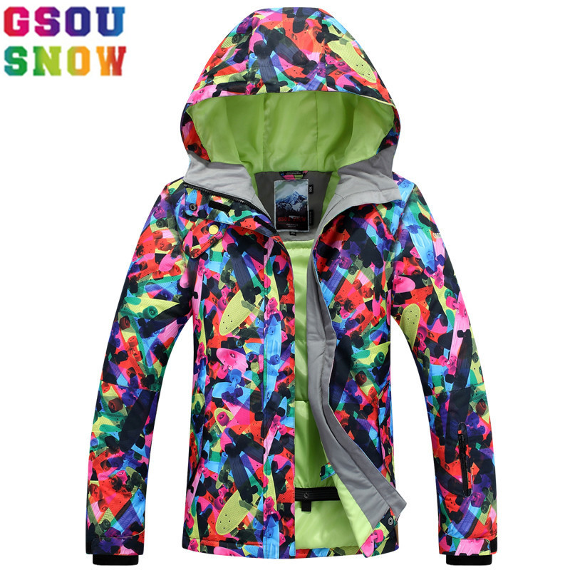 GSOU SNOW Brand Ski Jacket Women 2017 New Snowboard Jacket Winter Female Skiing Snowboarding Snow Coat Outdoor Sport Clothing hot sale women ladies snowboard jacket waterproof breathable ski jacket female winter snow coat sport motorcycle anorak clothes