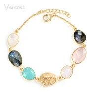 Vercret à la mode 18 k or bracelets rose quartz arc-en-moonstone bracelet 925 argent chaîne bijoux cadeaux sp