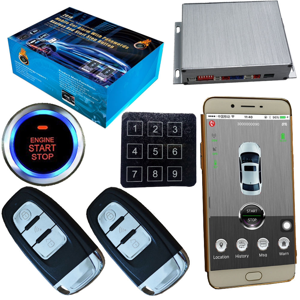 pke gsm gps car security alarm system with mobile app. Black Bedroom Furniture Sets. Home Design Ideas
