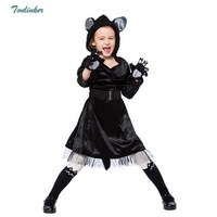 Black Cat Cosplay Costume Halloween Christmas Tutu Dress Girls Fancy With Gloves belt 3ps