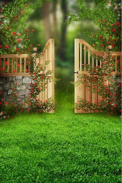 Custom vinyl cloth flower garden door fairy land photography backdrops for wedding children photo studio portrait & Custom vinyl cloth flower garden door fairy land photography ...