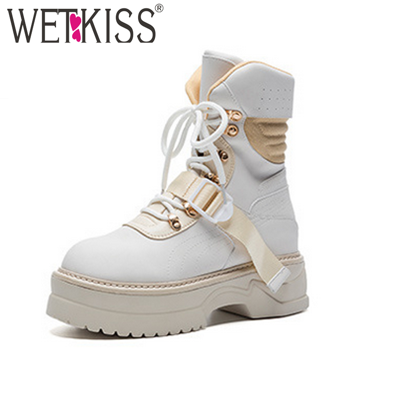 WETKISS Genuine Leather Women Ankle Army Boots Round Toe Footwear Motorcycle Female Boot Punk Platform Shoes Woman Autumn 2018 women ankle boots handmade genuine leather woman boots autumn winter round toe soft comfotable retro boot shoes female footwear