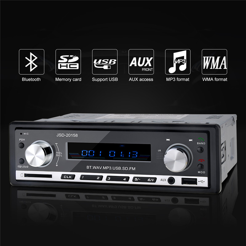 JSD-20158 12V Bluetooth Stereo FM Radio Tuner MP3 Car Audio Player USB SD AUX APE FLAC WMA Car Electronics In-Dash One DIN