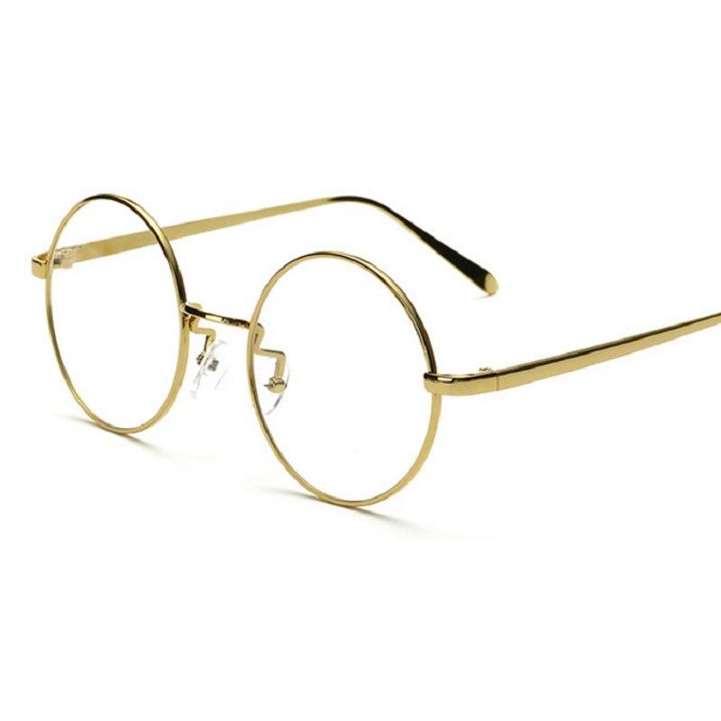 ②Verano moda vintage ronda Gafas hombres Gafas mujeres metal Marcos ...