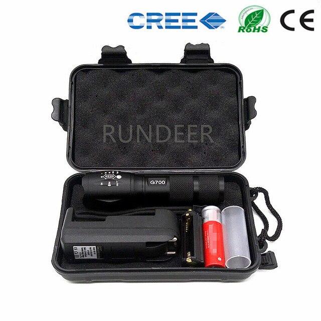 Подарочная коробка регулируемый фокус 5 режимов CREE XM-L T6 3800Lm led G700 фонарик факел лампы свет с 18650 + зарядное устройство