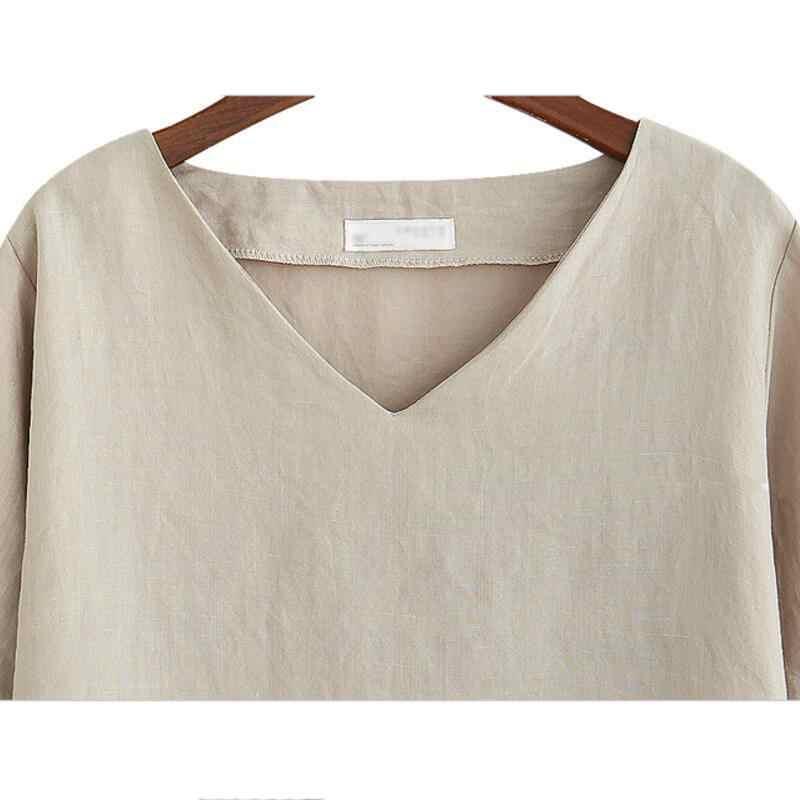 Хлопковая льняная блузка, Летняя Повседневная рубашка с коротким рукавом, женские топы, свободные женские модные блузки размера плюс