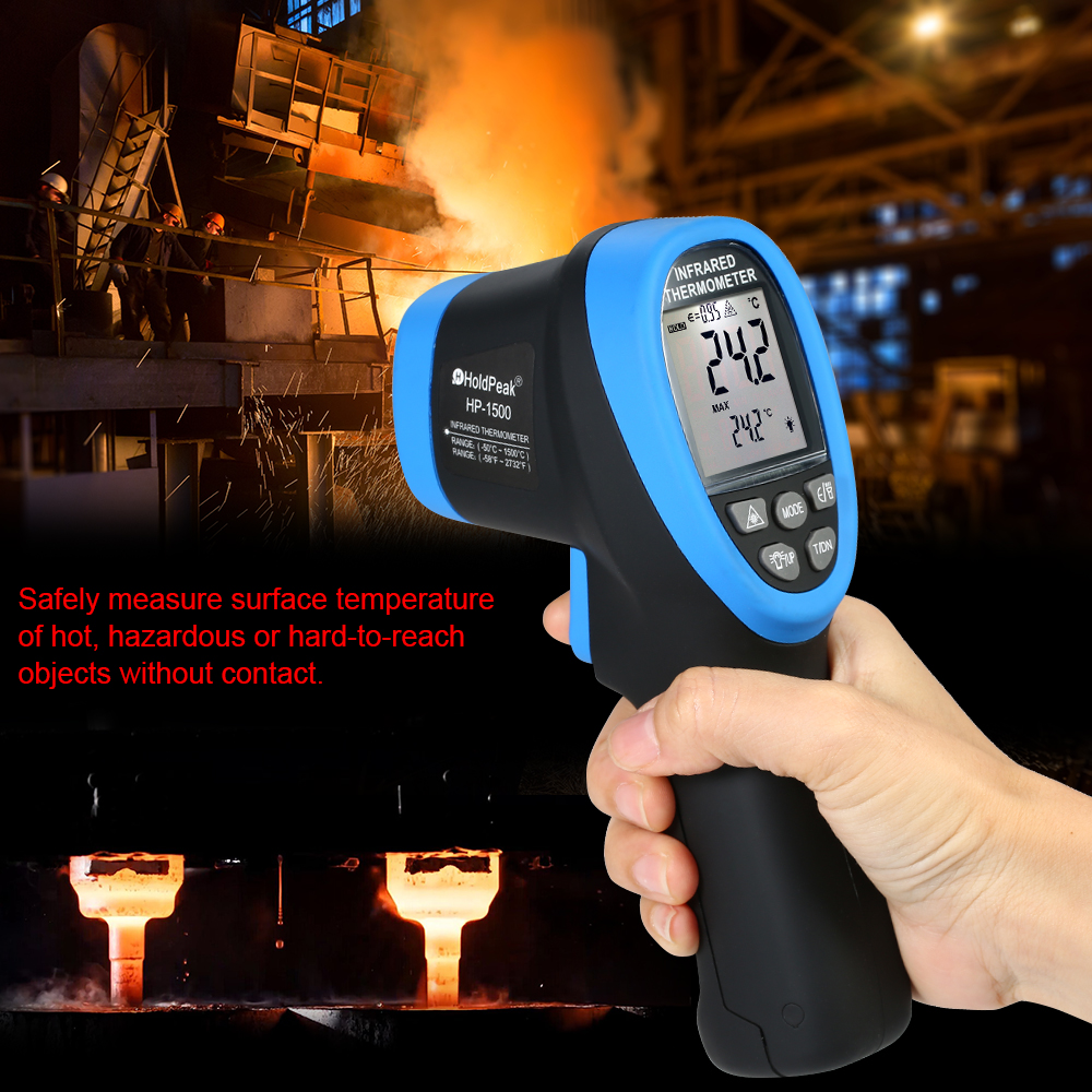 HoldPeak HP-1420 -50~1420 Double Laser Digital Infrared Thermometer Non Contact Temperature Meter Gun Laser Display Thermometer цена