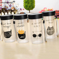 Keythemelife Plastic Water Bottle Cartoon Cat Water Bottles Cute Bottle Outdoor Tumbler Kids Female Kettle D