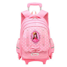 Travel luggage bags for kid Girls Trolley School backpack wheeled bag for School Trolley bag On wheels School Rolling backpacks(China)