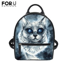 FORUDESIGNS Gothic Punk Black PU Backpacks Women Femme Ghost Cat Leather Small Shoulder Bag Girls Student Waterproof School