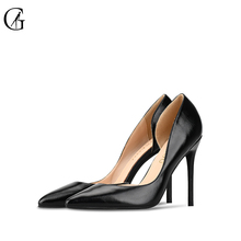 Купить с кэшбэком GOXEOU 2019 New Fashion Women Pumps Thin Heel High Heels Sexy Pointed Toe Patent Leather Wedding Office Handmade Free Shipping