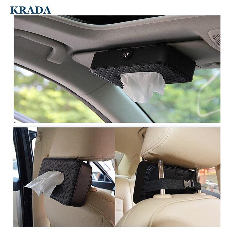 KRADA Car Styling Car Tissue Box Holder Container convenient car styling For BMW E46 E39 E90 E60 E36 E34 E30 F10 F20 F30  X3 X5 back seat covers leather car seat cover for bmw e30 e34 e36 e39 e46 e60 e90 f10 f30 x3 x5 x6 car accessories car styling