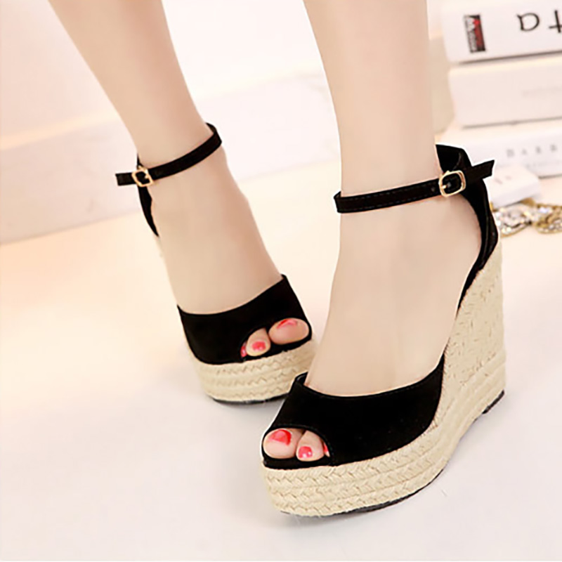New 2017 Summer Style Shoes Woman Sandals Buckle Fashion Slippers Top Quality Casual Platform Wedges Fashion Flats Cover Heel phyanic gold silver wedges sandals 2017 new platform casual shoes woman summer buckle creepers bling flats shoes phy4040