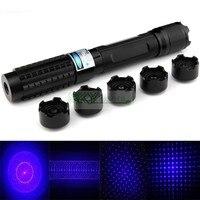 Licht Cigratte 1000 MW 1 W High Power verstelbare focus blauwe laser pointer Pen Zaklamp Stijl 5 * laser heads + bril