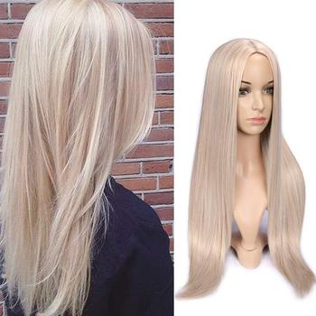 FAVE Long Straight Pure Light Brown Blonde Long Synthetic Wigs for White /Black Women 22 Inch Middle Part Can be Cosplay Wigs 1