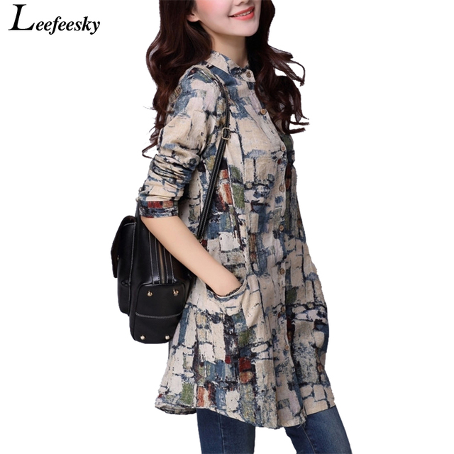 Autumn Linen Women Tops Long Sleeve Shirt Tribal Print Blouses