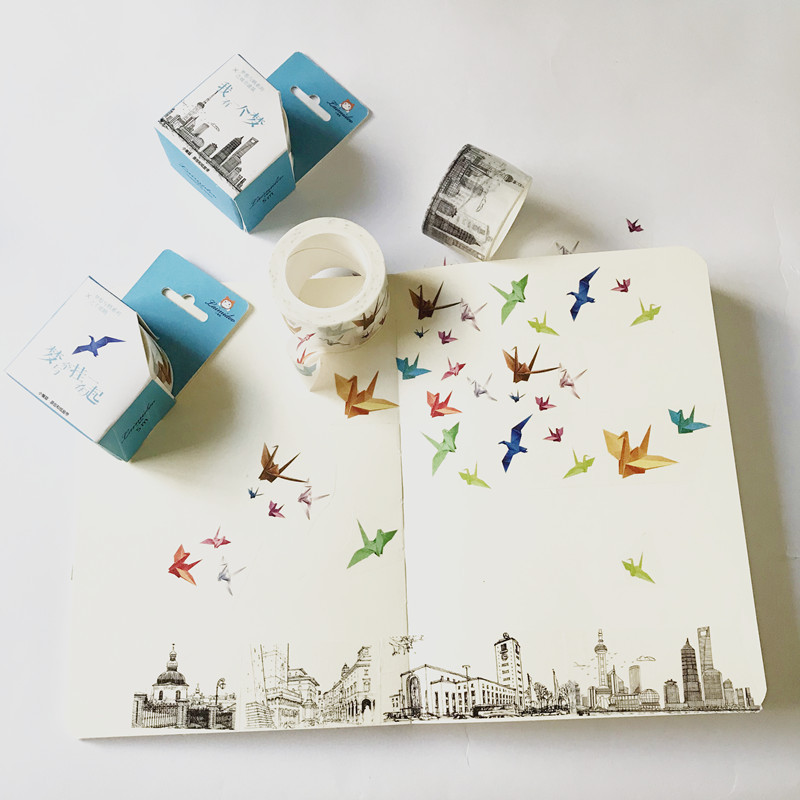 3 cm Wide Creative Paper Cranes City Building Washi Tape Adhesive Tape DIY Scrapbooking Sticker Label Masking Tape