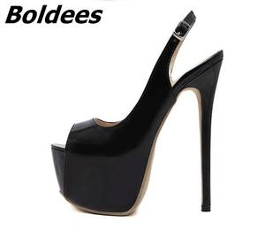 736fda3dc3e Boldees Black Leather High Platform Pumps For Women