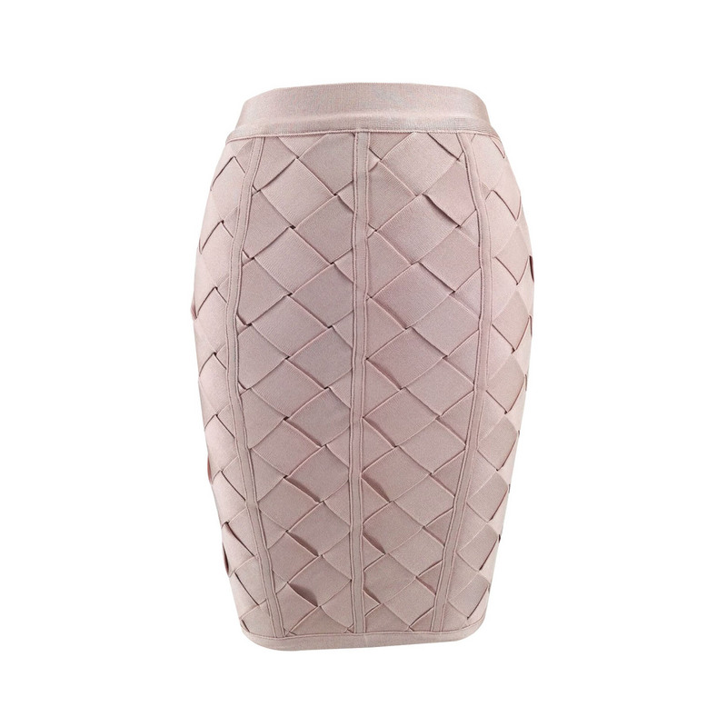 High Quality Women Summer Skirt Sexy Weaving Black Beige Rayon Bandage Skirt 2017 Women Designer Elegant Bodycon Pencil Skirts