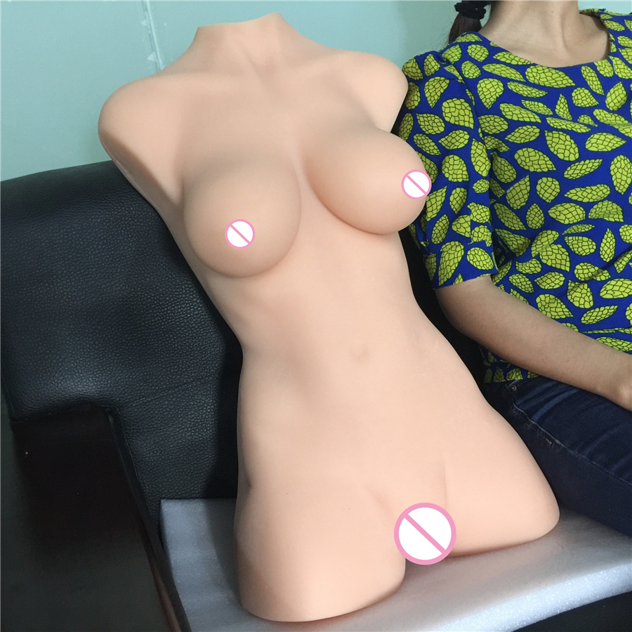 Full size real lifelike silicone torso products with big realistic breast vagina anus font b sex