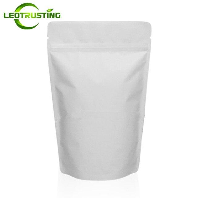Leotrusting 50 pcs Stand up Saco Ziplock Da Folha de Alumínio Doypack Branco Mate Folha de Grãos de Café Saco de Chá de Embalagem De Nozes Branco sacos do presente