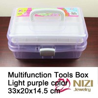 High Quality Multifunction Tool Box Light Purple 3 Layers For Nail Art Tool Case Storage Box