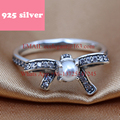 PJR046 FreeShipping 925 silver ring . bow ring with stone and pearl luxury jewerly. Latest Fashion Trendy Design rings for woman