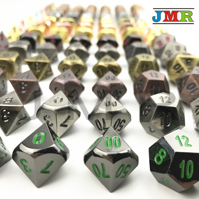 Metallic Juegos De Mesa Dados Rpg Set Of D4 D20 Polyhedral Dice For