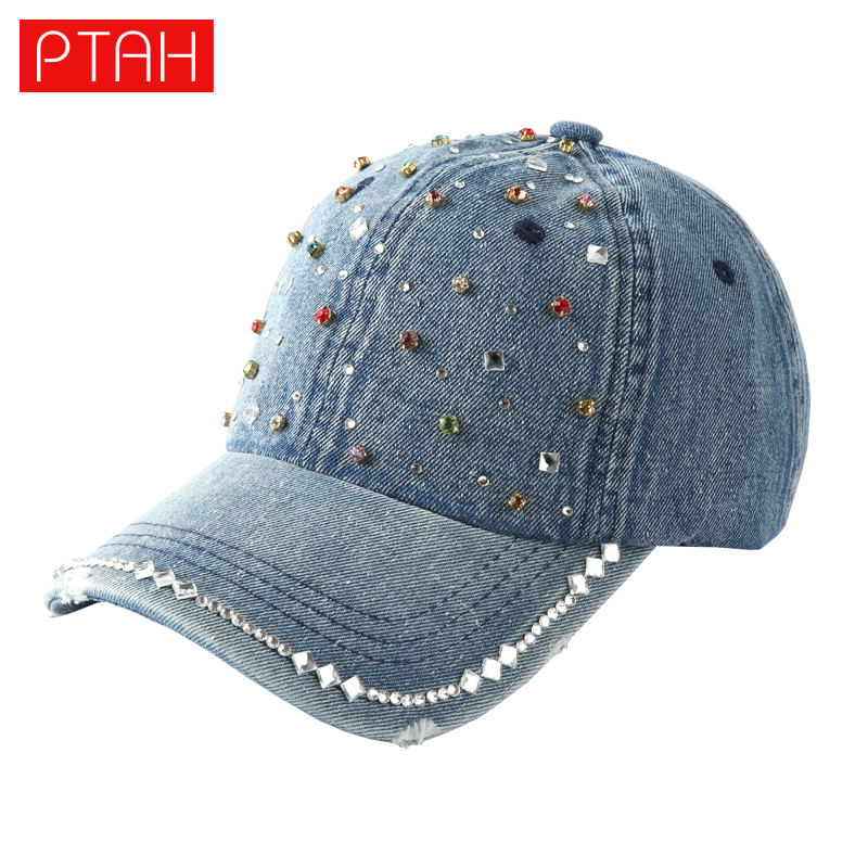 PTAH 2017 Fashion Denim Diamond Point Adjustable Fitted Hats Women Hip Hop Baseball Caps Kappen Gorras Summer Casquettes 4162 feitong summer baseball cap for men women embroidered mesh hats gorras hombre hats casual hip hop caps dad casquette trucker hat