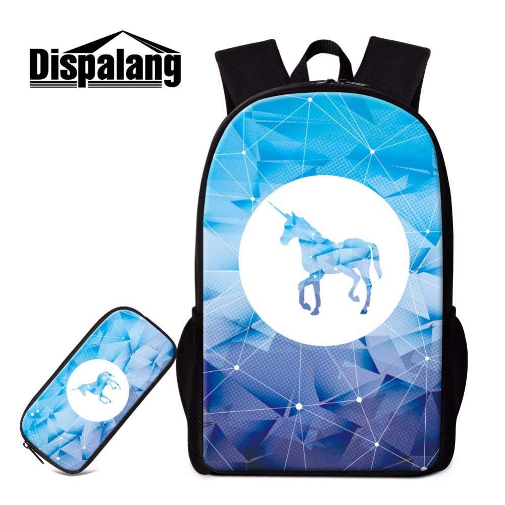 Dispalang Unicorn School Backpack Combination 2pcs/set School Bags With Pencil Case Student Stationery Supplies 16 Inch Bookbag fundamentals of physics extended 9th edition international student version with wileyplus set