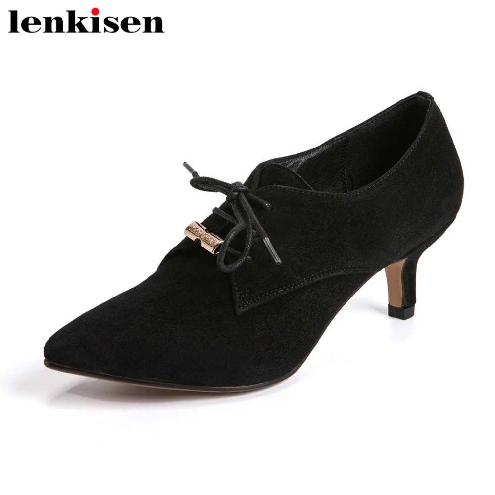 Lenkisen sweet elegant pointed toe narrow band brand Spring summer beauty lady med heels party weeding casual women pumps L36
