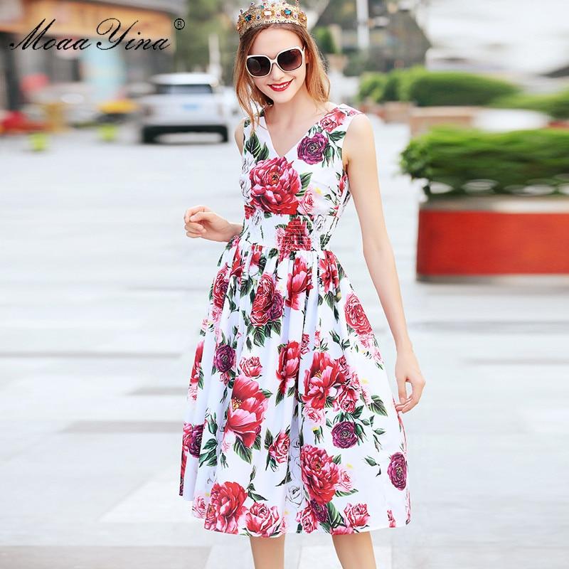 MoaaYina Mode Designer Runway Kleid Sommer Frauen backless Sleeveless Rose Floral Print Elastische taille Urlaub Elegante Kleid-in Kleider aus Damenbekleidung bei  Gruppe 2